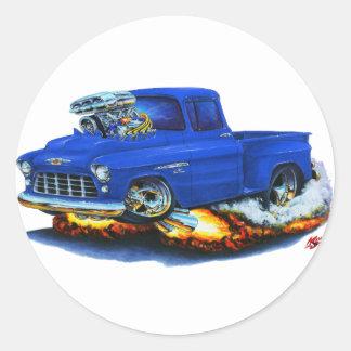 Camión 1955 del azul de la recogida de Chevy Pegatina Redonda