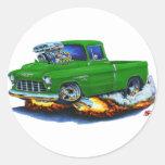 Camión 1955 del verde de la recogida de Chevy Etiquetas Redondas
