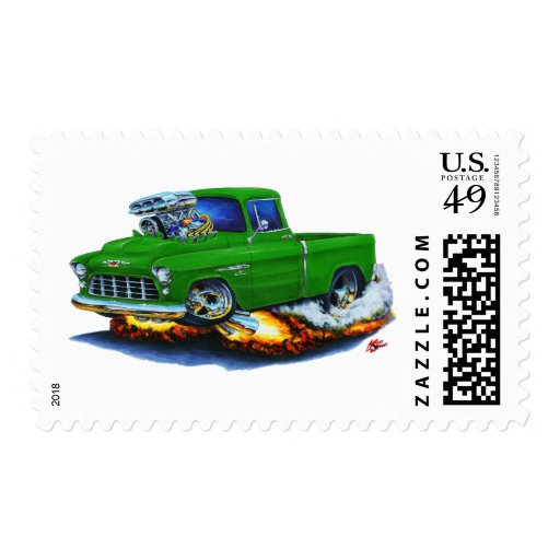 Camión 1955 del verde de la recogida de Chevy Sello