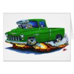 Camión 1955 del verde de la recogida de Chevy Felicitación