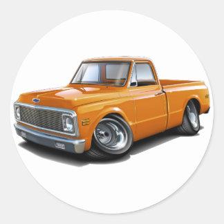 Camión 1970-72 del naranja de Chevy C10 Pegatina Redonda