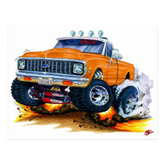 Camión 1970-72 del naranja de Chevy CK1500 Tarjeta Postal