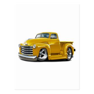 Camión amarillo 1950-52 de Chevy Tarjetas Postales