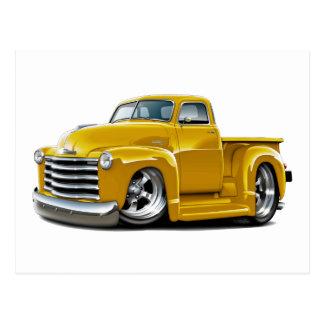 Camión amarillo 1950-52 de Chevy Tarjeta Postal