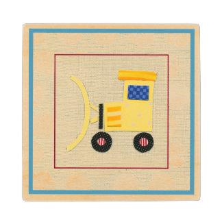 Camión amarillo de la niveladora del juguete de posavasos de madera