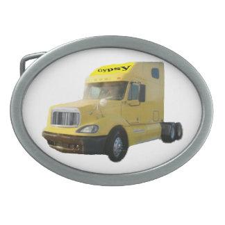 Camión amarillo hebillas cinturón ovales