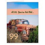 Camión anaranjado 99A del 99.o vintage feliz Tarjeta De Felicitación Grande