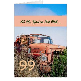 Camión anaranjado 99C del 99.o vintage feliz Tarjeta Pequeña