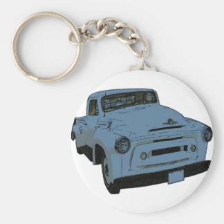 Camión antiguo azul llavero redondo tipo pin