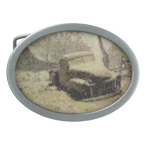 Camión antiguo cruz-cosido hebillas de cinturón ovales