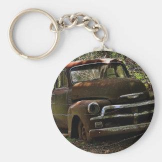 Camión antiguo llavero redondo tipo pin