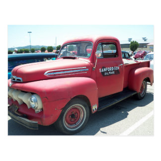 Camión antiguo rojo tarjetas postales