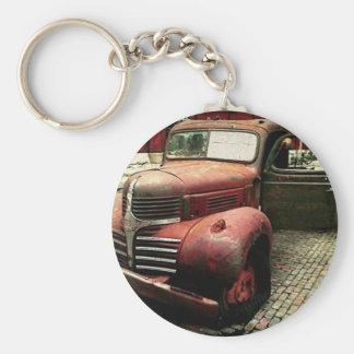 Camión antiguo rústico llavero redondo tipo pin