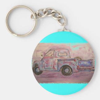 camión azul antiguo de la pátina llavero redondo tipo pin