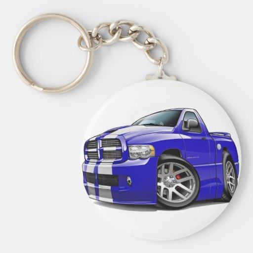 Camión Azul-Blanco del espolón de Dodge SRT10 Llavero Redondo Tipo Pin