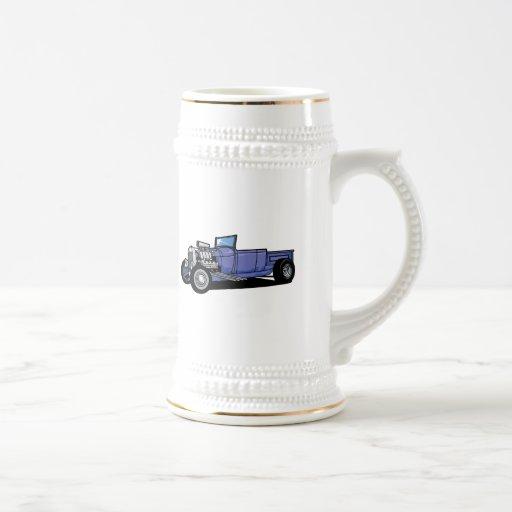 Camión azul del coche de carreras taza de café