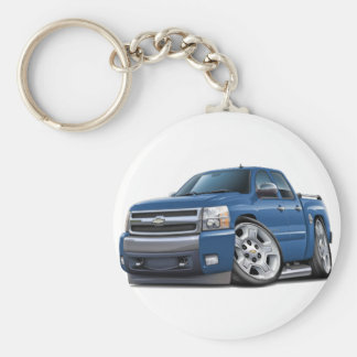 Camión azul del granito de Chevy Silverado Dualcab Llavero Redondo Tipo Pin