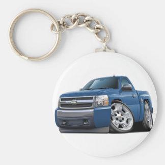 Camión azul del granito de Chevy Silverado Llavero Redondo Tipo Pin