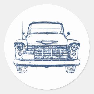 Camión azul del vintage etiqueta
