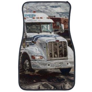 Camión blanco del cargo, el aparejo grande del alfombrilla de auto