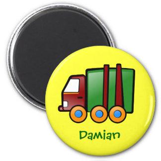 Camión conocido personalizado del dibujo animado imán redondo 5 cm