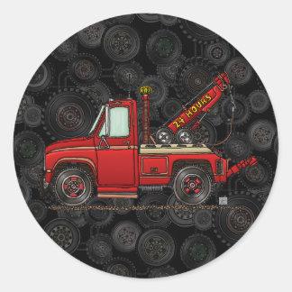 Camión de auxilio lindo de la grúa pegatinas redondas