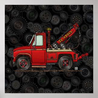 Camión de auxilio lindo de la grúa póster
