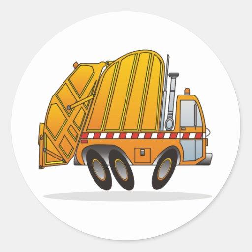 Camión de basura anaranjado etiquetas