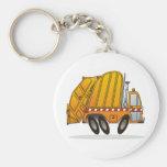 Camión de basura anaranjado llaveros personalizados