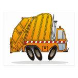 Camión de basura anaranjado postales