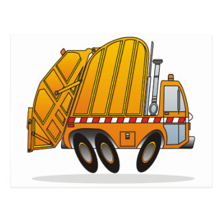 Camión de basura anaranjado tarjetas postales