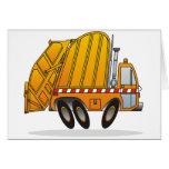 Camión de basura anaranjado tarjetas