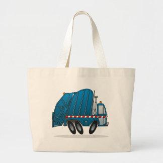 Camión de basura azul bolsa tela grande