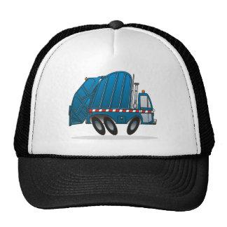 Camión de basura azul gorras de camionero