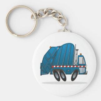Camión de basura azul llavero redondo tipo pin