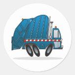 Camión de basura azul pegatina redonda