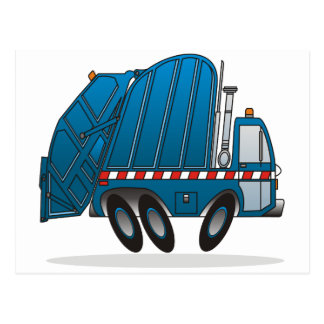 Camión de basura azul tarjeta postal
