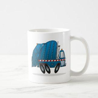 Camión de basura azul taza de café