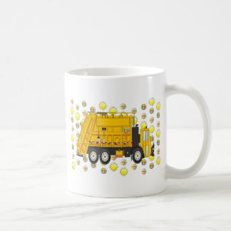 Camión de basura del verano agosto tazas de café