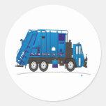 Camión de basura etiqueta redonda