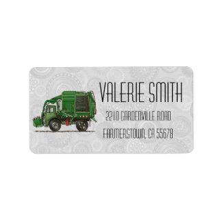 Camión de basura lindo del camión de basura etiqueta de dirección