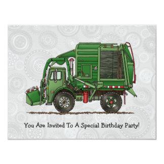 """Camión de basura lindo del camión de basura invitación 4.25"""" x 5.5"""""""