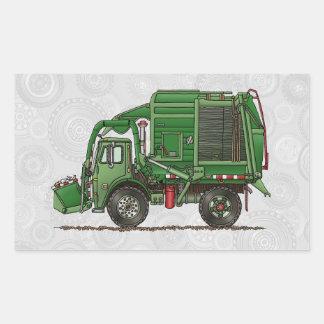 Camión de basura lindo del camión de basura rectangular pegatina