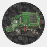 Camión de basura lindo del camión de basura etiquetas redondas