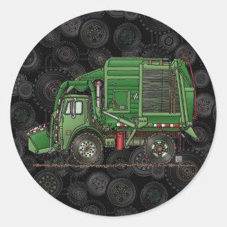 Camión de basura lindo del camión de basura pegatina redonda
