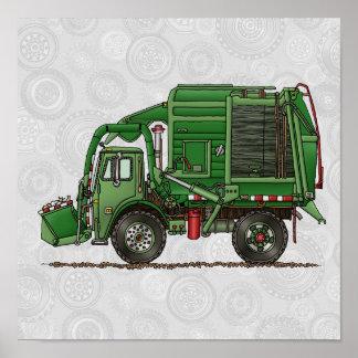 Camión de basura lindo del camión de basura póster