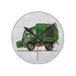 Camión de basura lindo del camión de basura reloj de pared