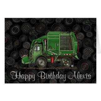 Camión de basura lindo del camión de basura tarjeta de felicitación