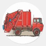 Camión de basura rojo etiquetas redondas