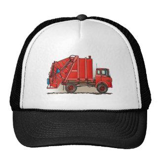 Camión de basura rojo gorras